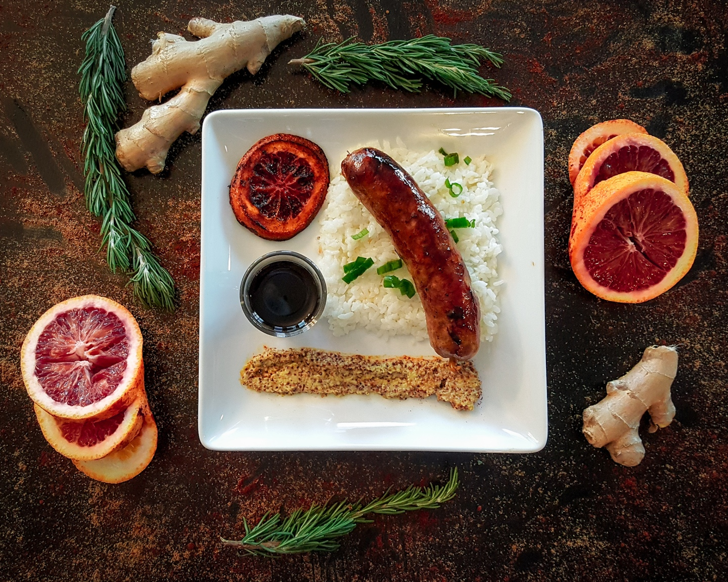 Honey Orange Mango Sausage with Rice and decorations